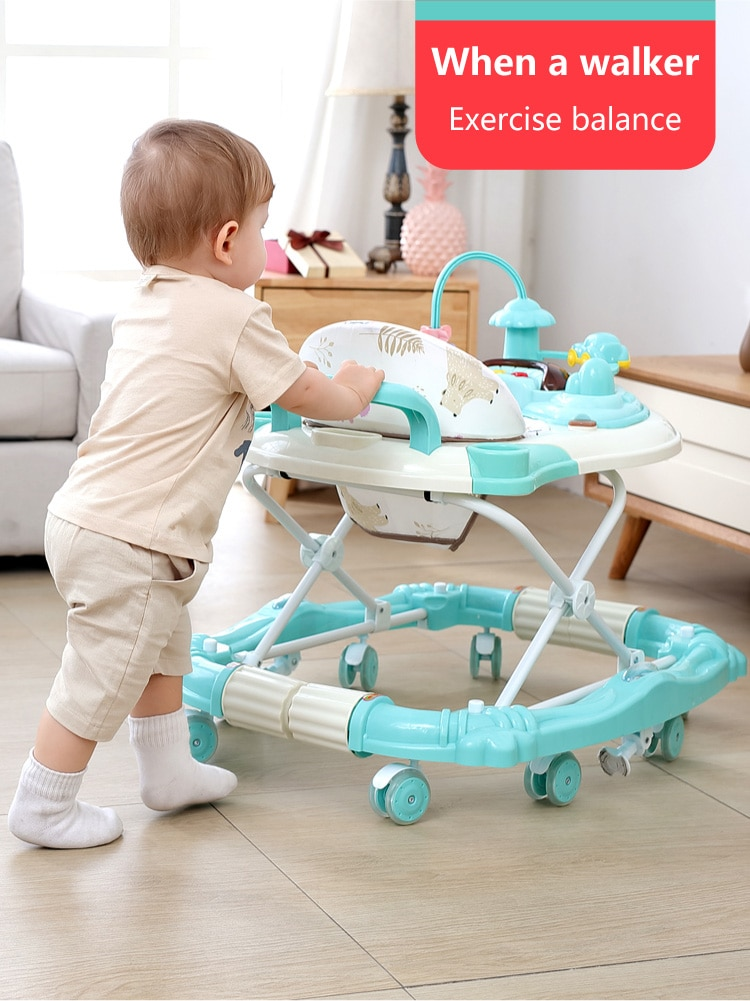 Baby walker multi-function anti-rollover hand push boys and girls anti-o-legs shake horse can sit on the line 0-12months enlarge