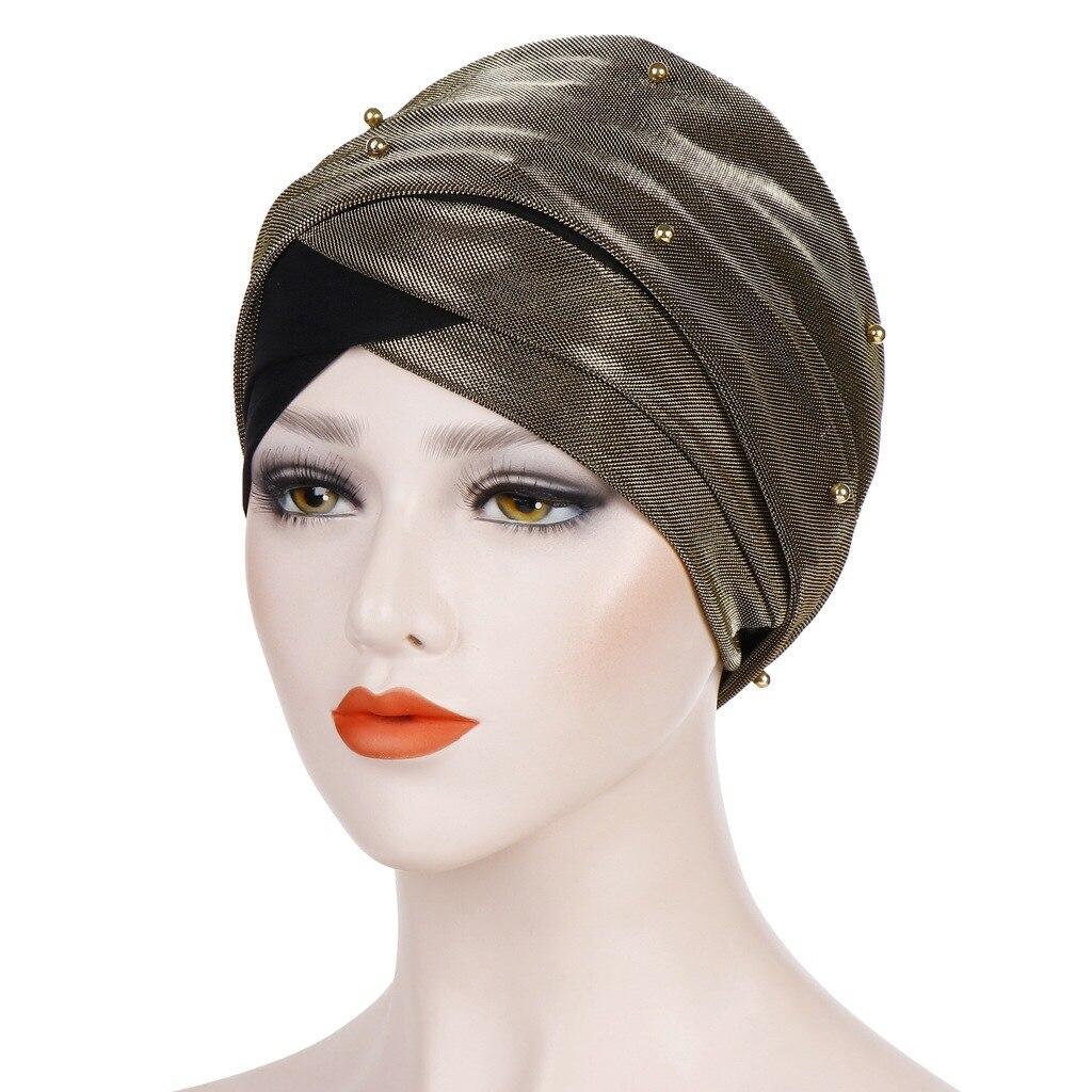 Фото - Muslim Long-tailed Headscarf Bonnet For Women Beading Turban Hijab Caps Islamic Underscarf Cap Ladies African Wrap Indian Hat new cotton twist women turban caps muslim printed hijab bonnet islamic african wrap indian hat ladies chemo cap bandanas