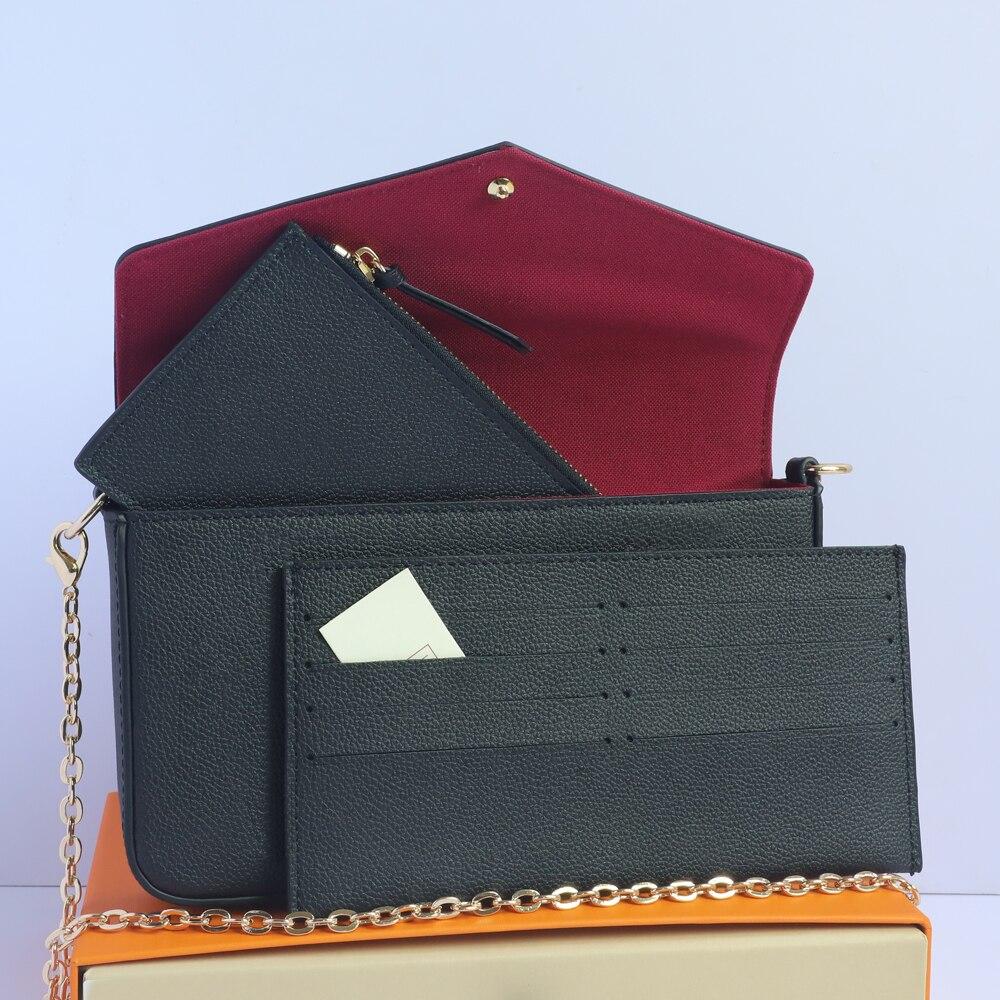 حقيبة ساعي مصمم حقائب للنساء 100% جلد طبيعي المحافظ وبطاقة 69977 سلسلة حزام الكتف حقيبة كروسبودي مع صندوق