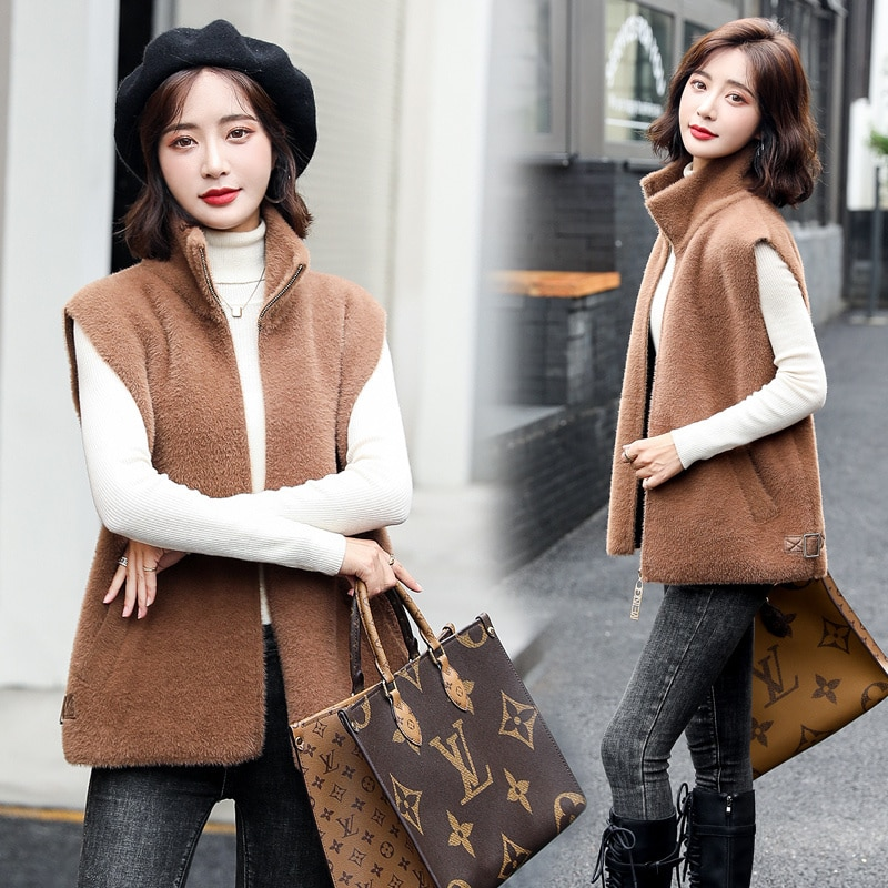 Leather and Fur Vest Women's 2021 Autumn and Winter Korean Style Small BF Plush Vest Small Coat Zipp