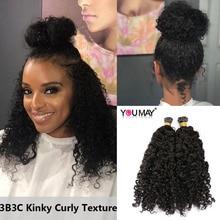 3B3C Kinky Curly I Tip Hair Extensions For Black Women Microlinks Mongolian Human Hair Bundles Weave