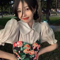 2021 new korean doll sweet woman shirt floral small sling two piece puff sleeve shirt female casual all match blouse