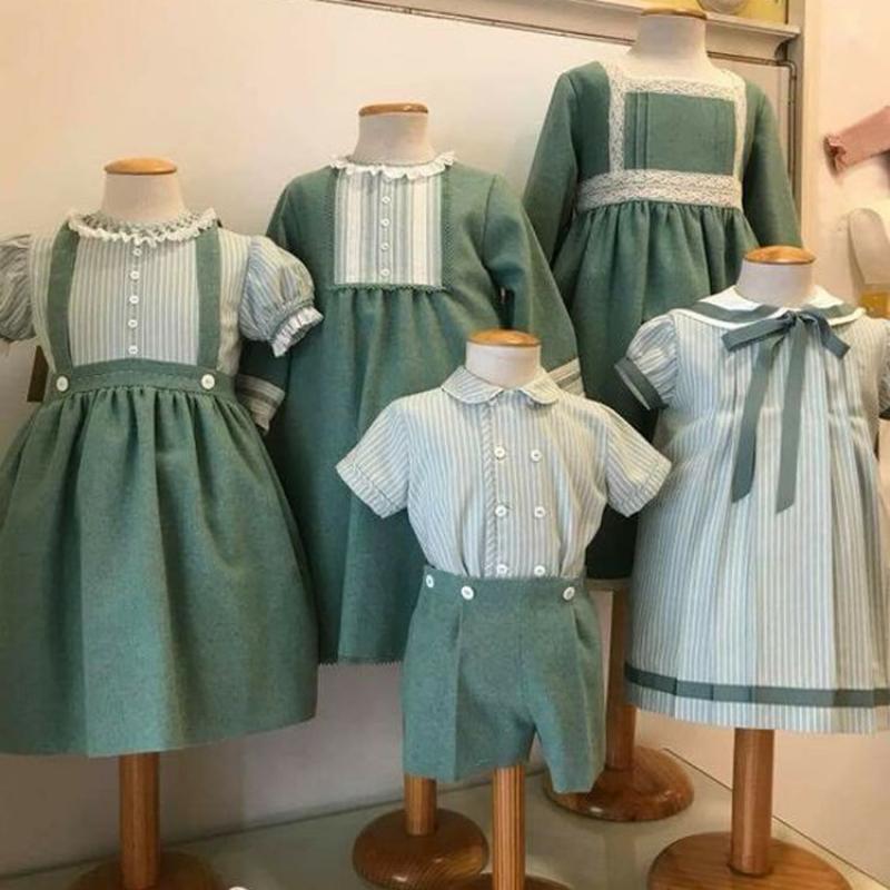ملابس أطفال جديدة لعام 2021 ملابس أطفال أولاد بنات إسبانية ملابس أطفال بنات إسباني فستان عيد ميلاد شقيق ملابس شقيقة