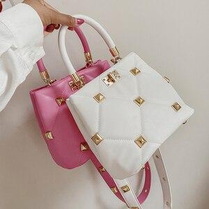 Women Square Plaid Handbag Ladies Brand Rivet Shoulder Messenger Bag 2021 Summer PU Leather Designer Bag Luxury