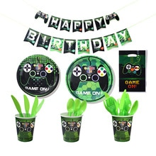 Disposable tableware game console theme boy birthday party decoration gift bag paper plate napkin ba