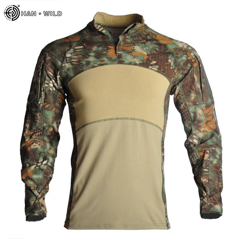 HAN WILD Outdoor camuflaje senderismo táctico camisetas Airsoft Paintball hombres combate militar camisetas de ejército uniforme caza pesca