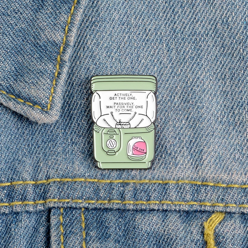 XEDZ game machine enamel pin 90s flip cute twist rod doll machine TV vending machine lapel brooch jewelry badge children gift  - buy with discount