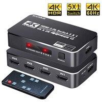 Высокоскоростной 18,5 Гбит/с 5 портов 4K 60 Гц HDR HDMI 2,0 переключатель 5x1 KVM Sup-порты Ultra HD Dolby Vision HDR10, HDCP 2,2 и 3D