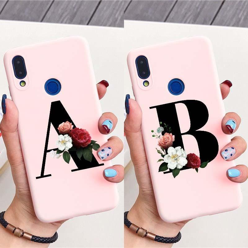 Etiqueta personalizada letra N flores palabra Simple negro bebé teléfono Rosa caso para HUAWEI Mate 10 20 30 P9 P10 P20 P30 Lite Plus Pro cubierta