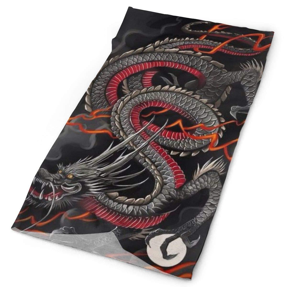 SHINYWEET Black Red Chinese Dragon Dragon Ball Art Headwear - 16 Ways to Wear Headband/Neck Gaiter/Bandana/Helmet