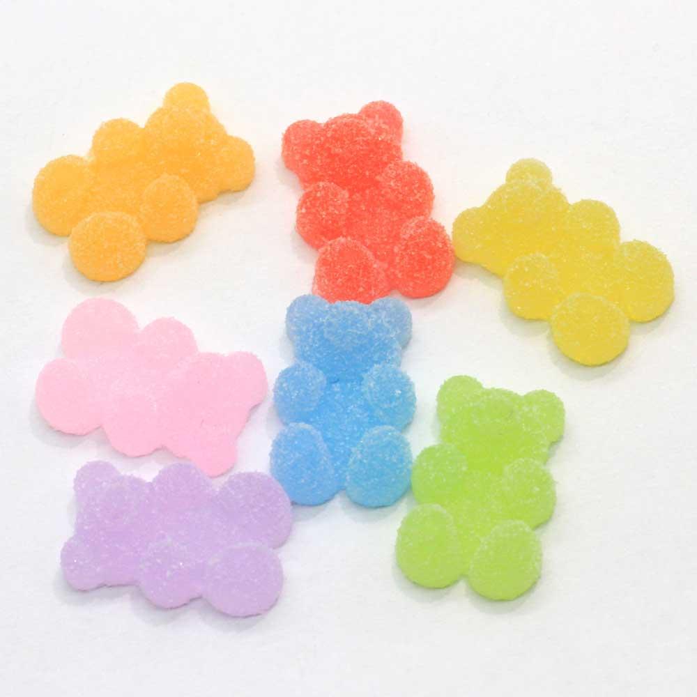 20/100 pçs simulação kawaii macio pouco urso fudge gummy bear flatback cabochons resina para brincos de headwear pingentes
