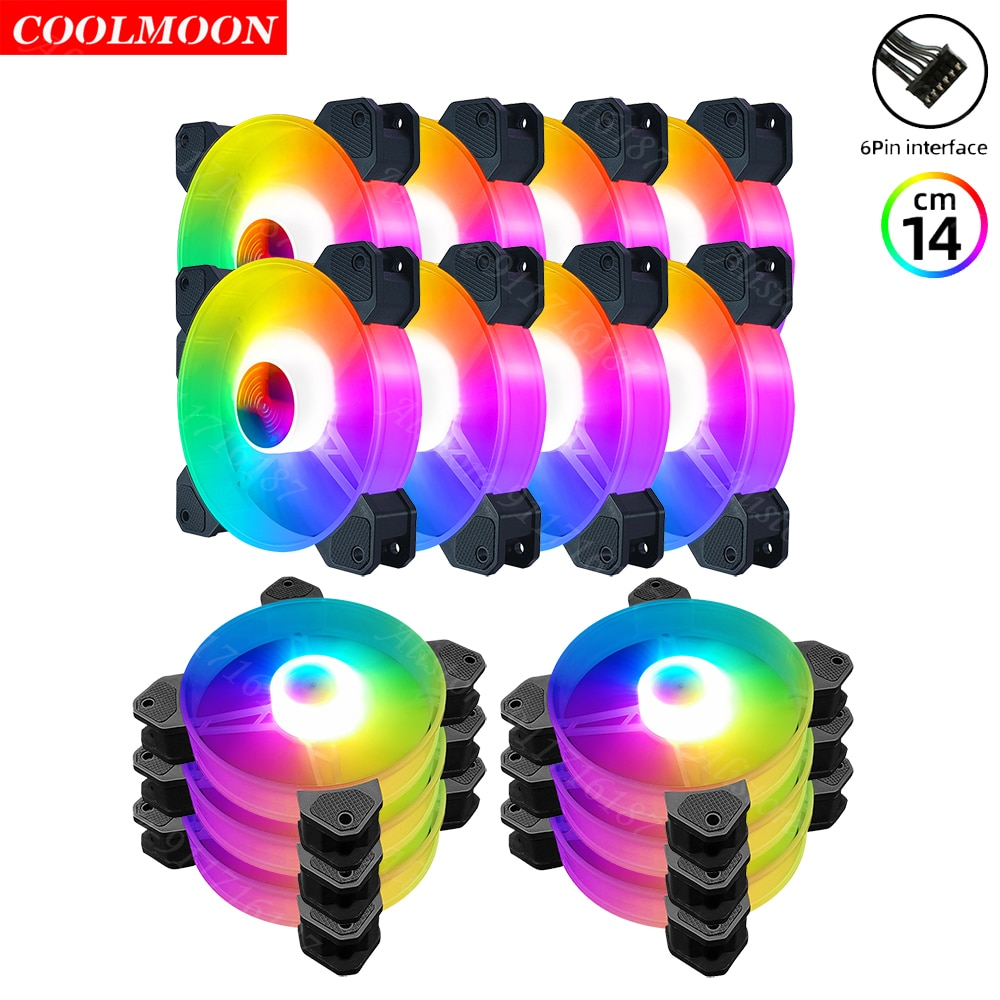 Coolmoon 6Pin Heatsink Dissipation RGB Computer Chassis Cooling Fan 140mm PC Case Accessories for Gaming Cooler Remote Control