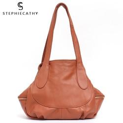 Sc cor sólida couro genuíno bolsas de ombro para mulheres grande tote senhoras couro genuíno hobo retro casual bolsas viagem bolsa