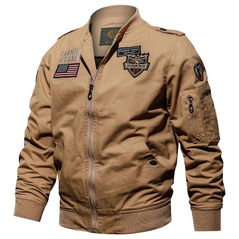 Пальто мужское весенне-осеннее однотонное хлопковое в стиле милитари