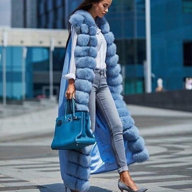 معطف شتوي طويل من فرو الثعلب الطبيعي الفاخر للنساء ، سترة طويلة من الكشمير عالي الجودة مع حزام