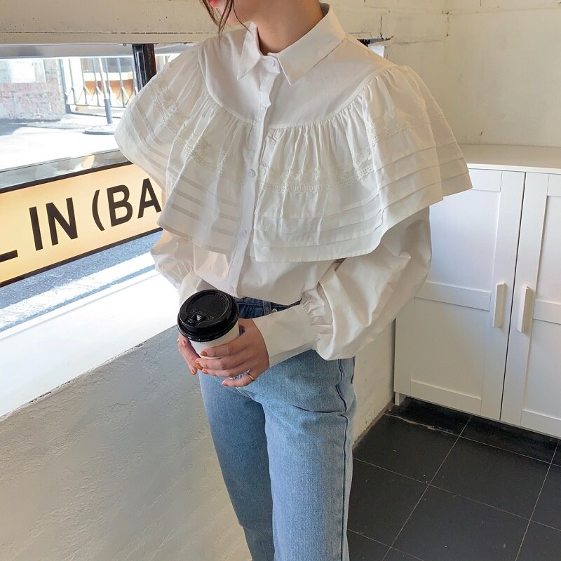 H7492d8620f6d4b768a866f9e632c1e76d - Spring / Autumn Turn-Down Collar Long Sleeves Loose Cape Solid Buttons Blouse