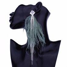 Boucles doreilles bohémien longues plumes pour femmes grandes boucles doreilles déclaration gland strass boucles doreilles pendantes pendantes bijoux ethniques