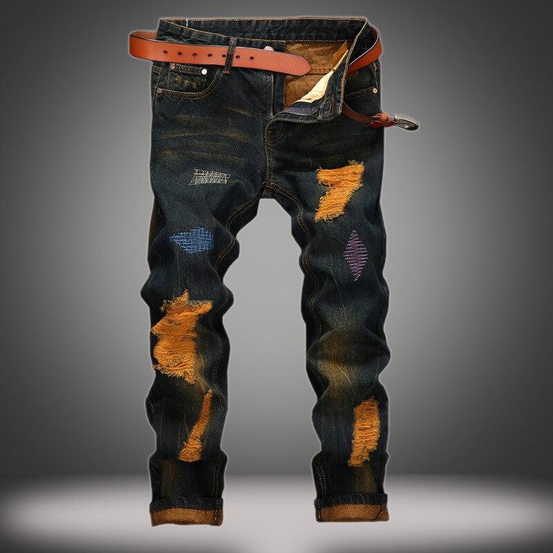 Джинсы мужские рваные индивидуальные старые прямые мужские джинсы ретро модные брюки мужские джинсы брюки