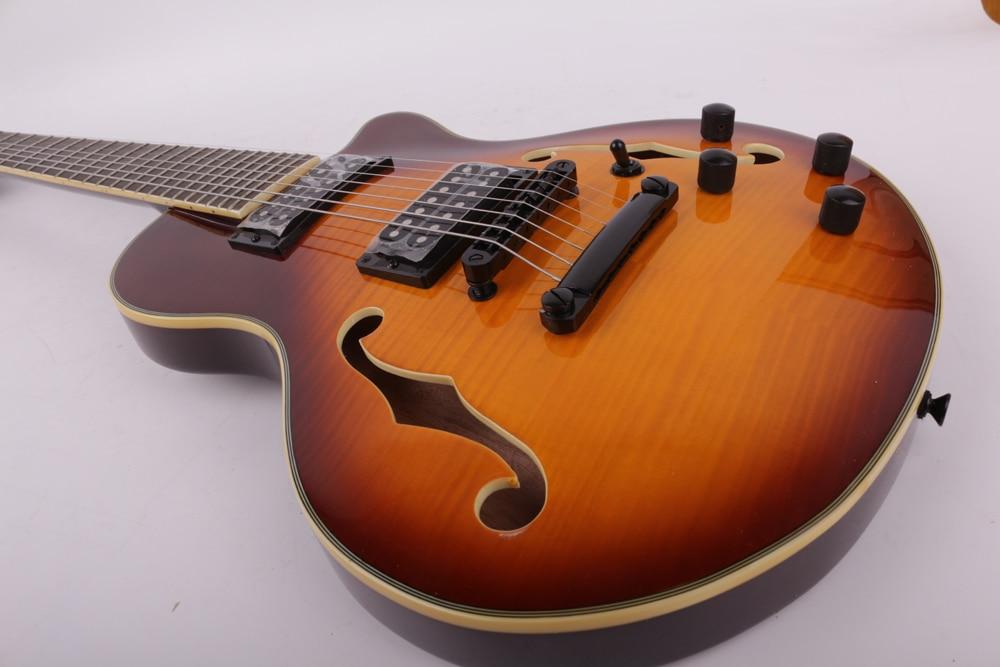 Good quality 7 seven string vintage sunburst electric guitar F hole free shipping enlarge