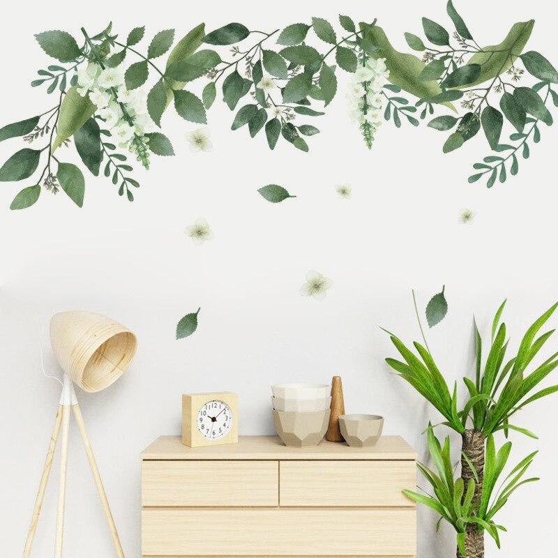 Pegatinas de papel tapiz para decoración de dormitorio, pegatinas de hoja verde...