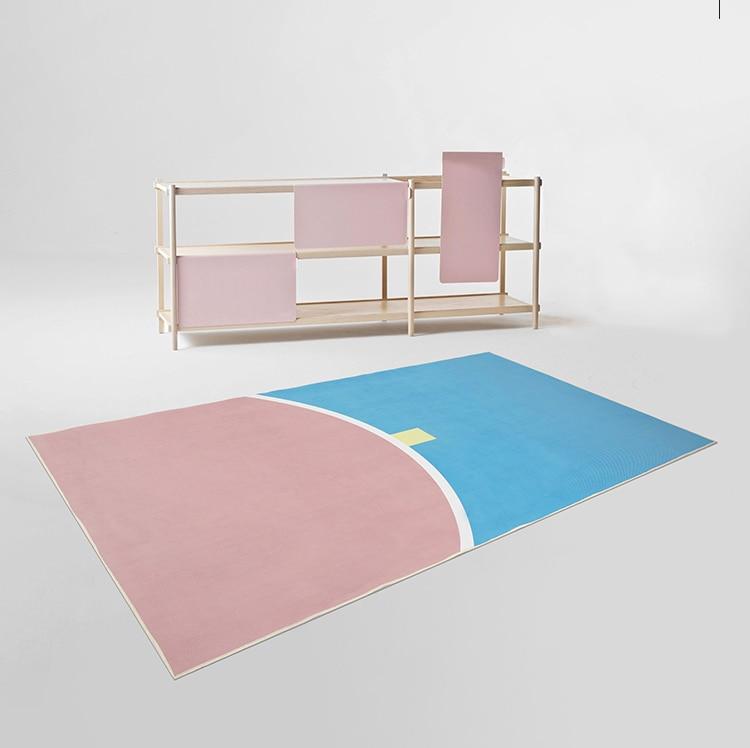 معكرون مخطط الألوان البساط الشمال الفن السجاد لغرفة المعيشة ديكور المنزل مجردة السجاد الحمام سجادة ضد الإنزلاق نوم السجاد