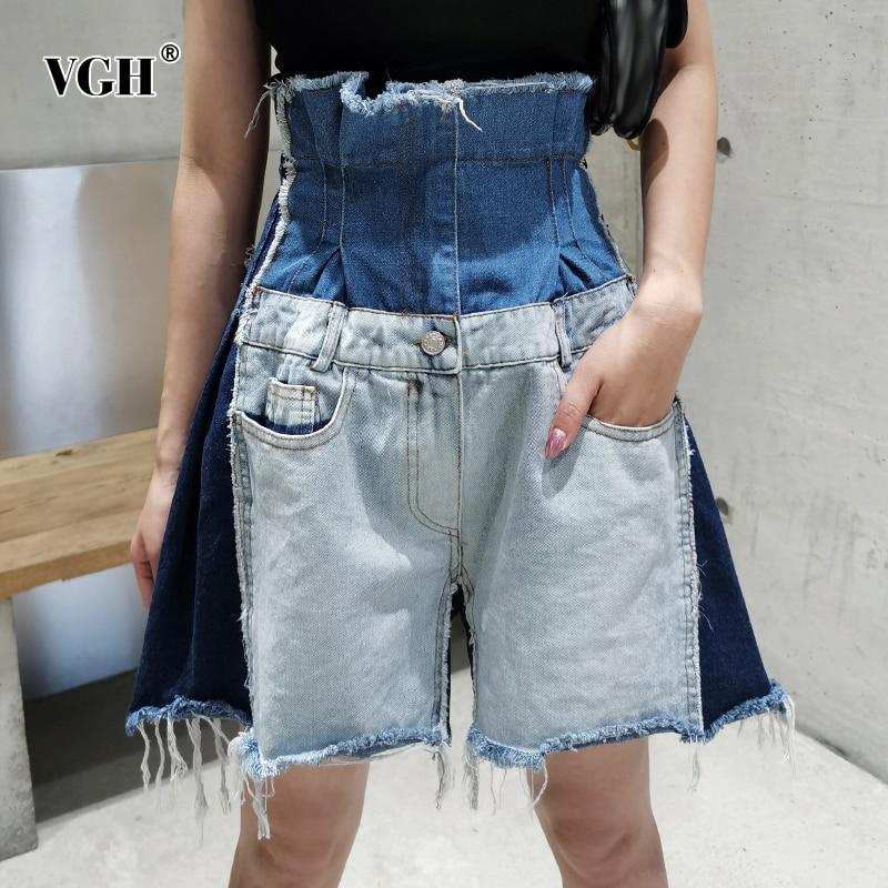 striped asymmetric tunic tee with pockets VGH Patchwork Short For Women Asymmetric High Waist Denim Tunic Pockets Hit Color Casual Shorts Female 2020 Summer Fashion New