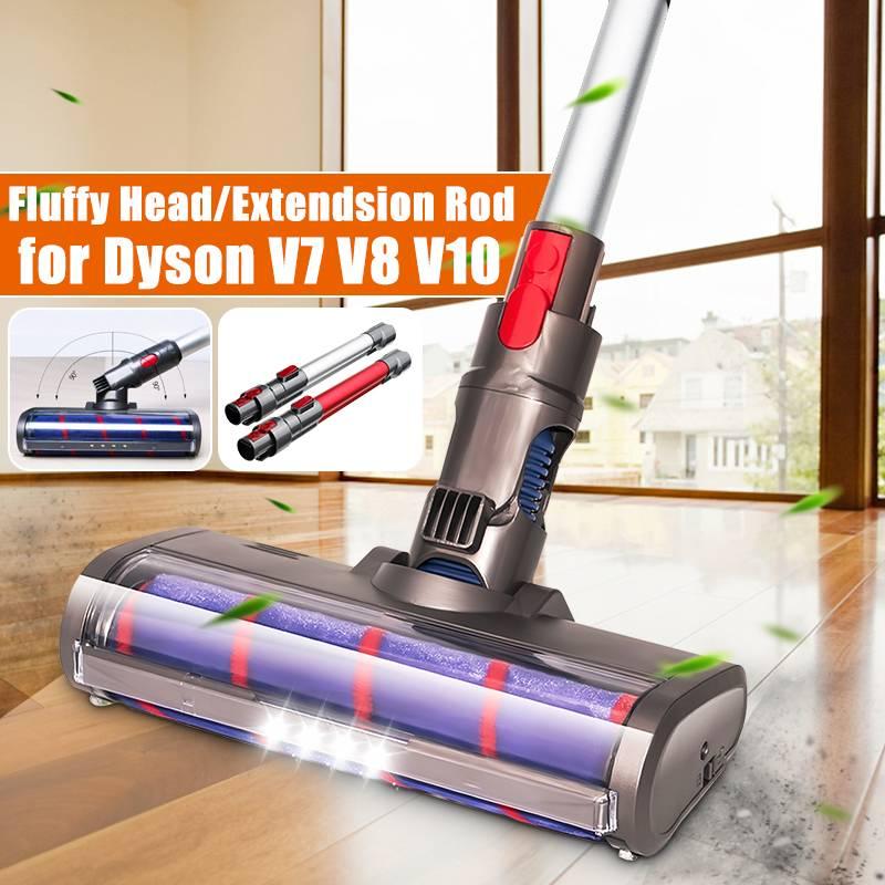 رأس فرشاة ناعم لـ Dyson V7 V8 V10 ، للمكنسة الكهربائية ، تصميم جديد مع ضوء LED ، بكرة قطيفة ، قضيب تمديد ممتد
