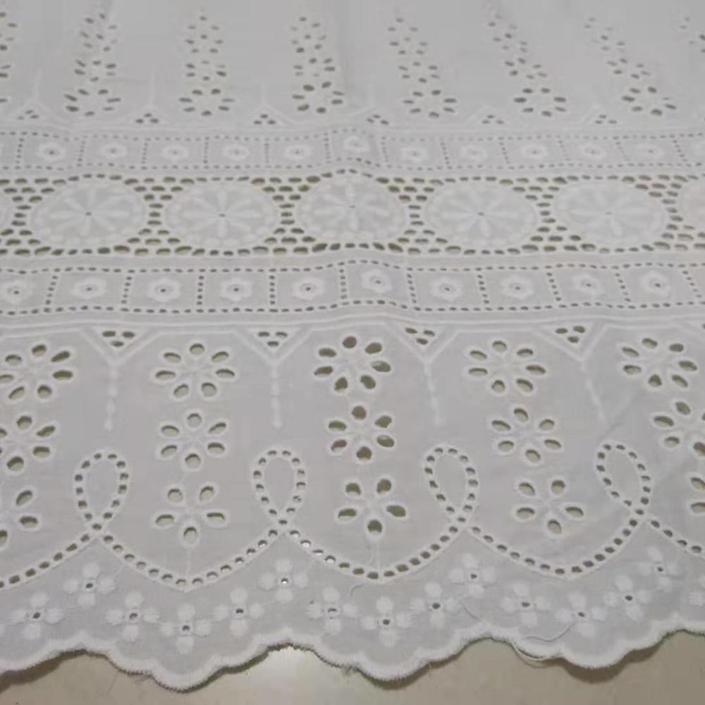 1 yarda de tela de algodón con ojales 130 cm de ancho tela de encaje bordado tejido de algodón borde ondulado