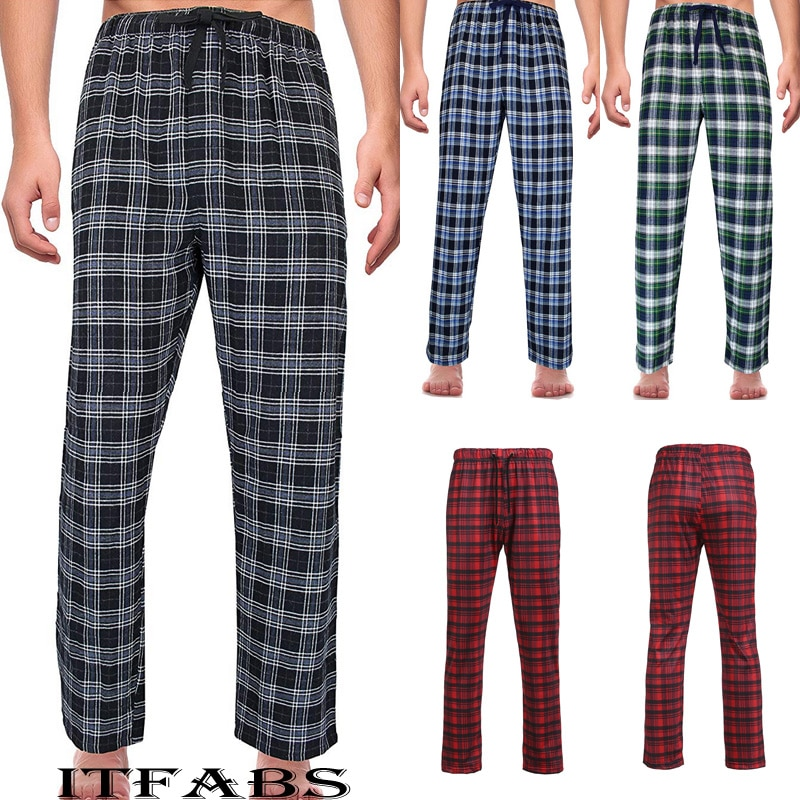 Men's Loose Sleep Bottoms Plaid Flannel Lounge/Pajama PJ Pants Size M-2XL Bottoms Casual Pants Sleep