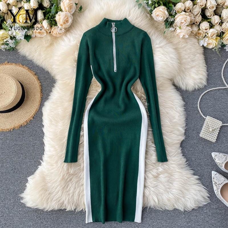 Yuoomuoo ins moda 2020 casual zíper gola midi bodycon vestido feminino manga longa outono vestido de malha vestido verde quente