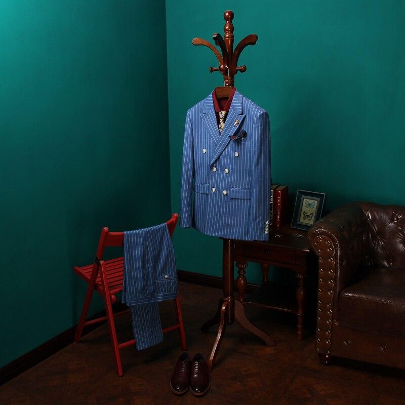 Top Quality Mens Suits 3 Psc Blazer+Vest+Pants Groom Wedding Suits For Men Dress Striped Double Breasted Suit