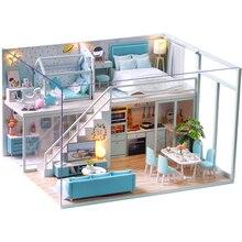 CUTEBEE bricolage maison de poupée en bois maisons de poupée Miniature maison de poupée Kit de meubles Casa musique Led jouets pour enfants cadeau danniversaire