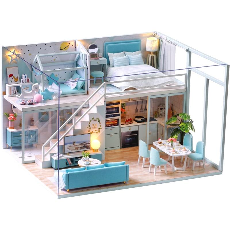 Casa de muñecas CUTEBEE DIY, Casa de muñecas de madera, Casa de muñecas en miniatura, Kit de muebles para Casa, juguetes con luz Led de música para niños, regalo de cumpleaños