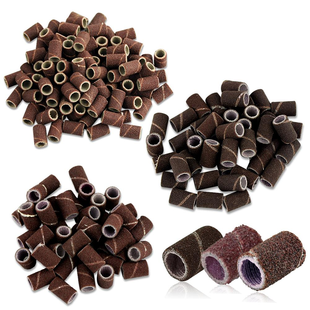 50pcs/lot Mounted Cylindrical Grinding Heads Abrasive Sleeves Sanding Bands 80# 120# 180# For Nail Drill Manicure Tools