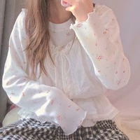 new chic lace tops all match vintage kawaii cute white top femme 2021 women harajuku retro floral printing long sleeve t shirts