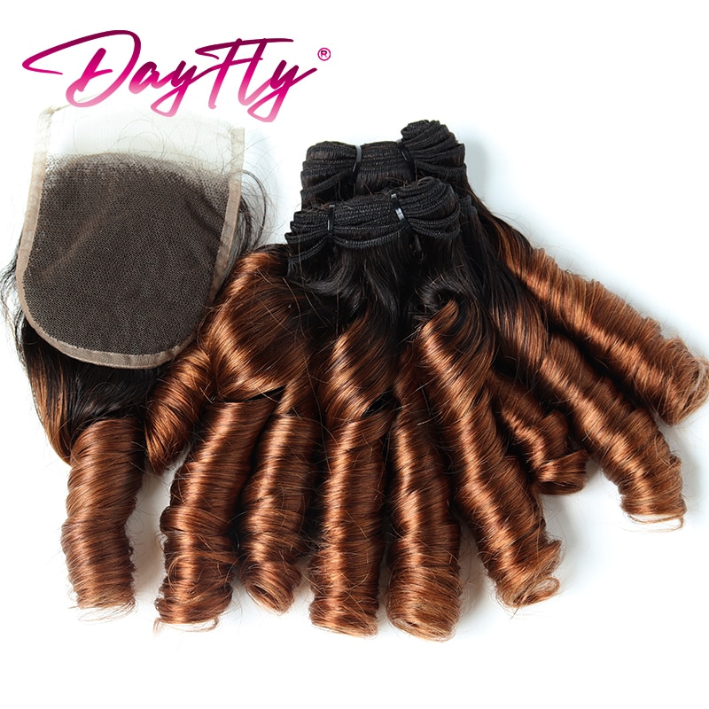 Ombre Loose Wave Bundles With Closure Peruvian Human Hair Bundles 4 Bundles Funmi Curly With Closures For Women T1b 30 99j
