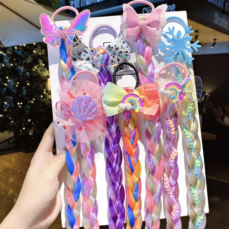 Ponytail Hair Ropes for Girls Sequin Glitter Unicorn Scrunchies New Colorful Wig Pigtail Elastic Rings Kids Headwear