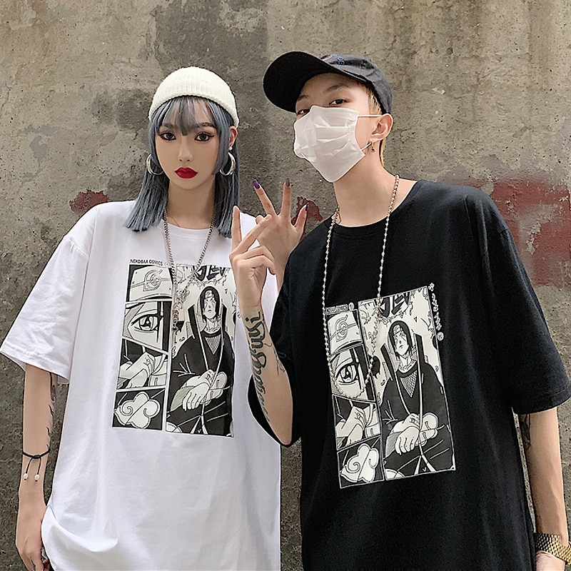 Men's tshirt Unisex Naruto Harajuku Cool Japanese Anime Uchiha Itachi Print Short Sleeve t shirt Male Streetwear Casual T-shirts