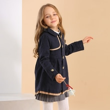 Плащ для малышей; Осенняя хлопковая детская одежда для девочек; теплое однобортное пальто средней длины; Весенняя ветровка для девочек