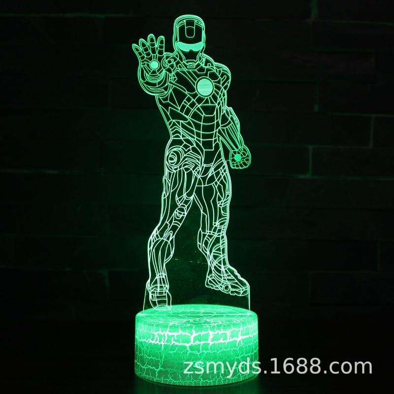 Настольная 3D лампа в виде Железного человека Disney, яркий светодиодный светильник с визуальным стереозвуком, светильник ативный подарок на д...