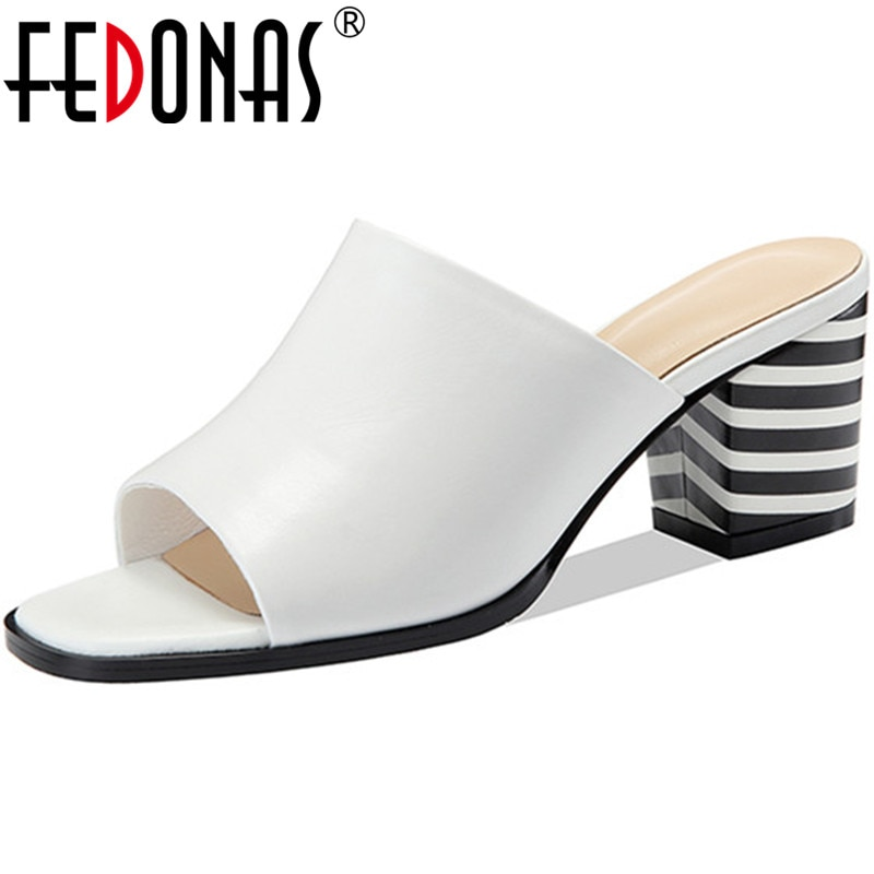 FEDONAS 2021 جلد طبيعي النساء أحذية الصيف مختلط الألوان كعوب عالية على الموضة مضخات الزفاف أحذية الحفلات امرأة الكعوب حجم 34