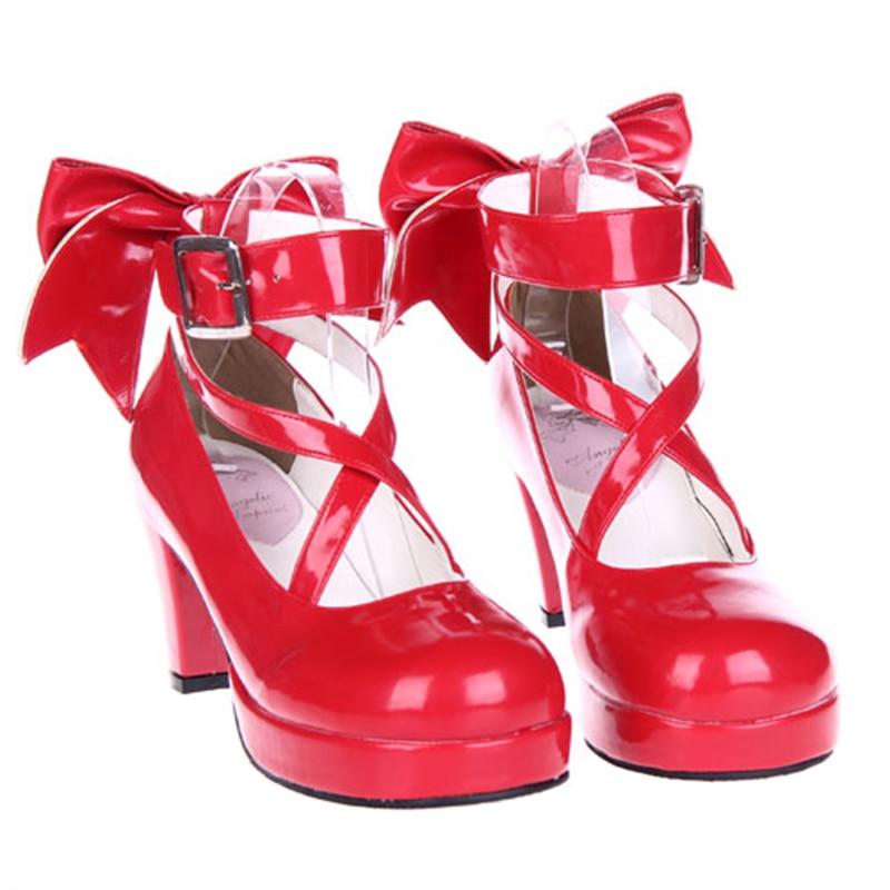 حذاء الأميرة من Puella Magi Madoka Magica ، أحذية تنكرية على الطراز الياباني ، أحذية أنيمي لوليتا ، كعب عالي للنساء مع ربطة عنق