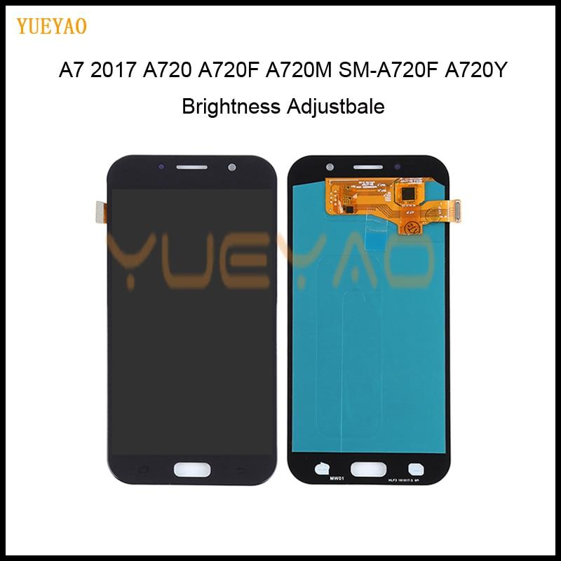 5.7 polegadas LCD Para Pantalla Samsung A7 A720 2017 A720F A720M SM-A720F Display LCD Touch Screen Substituição Digitador Assembléia