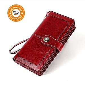 BONAMIE Capacity Genuine Leather RFID Wallet Women Oil Wax Luxury Female Purse Ladies Long Clutch Vintage Card Holder Wallet