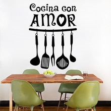 Hiszpańska naklejka ścienna z winylu Cocina Con Amor Wall Art cytat kalkomanie wodoodporna Mural Home do kuchni dekoracyjna naklejka RU181