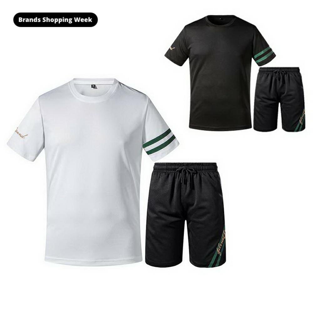 2020 novos homens casual conjunto de treino verão 2 peça conjunto camiseta + shorts moda esporte terno sólido moletom esportiva st110