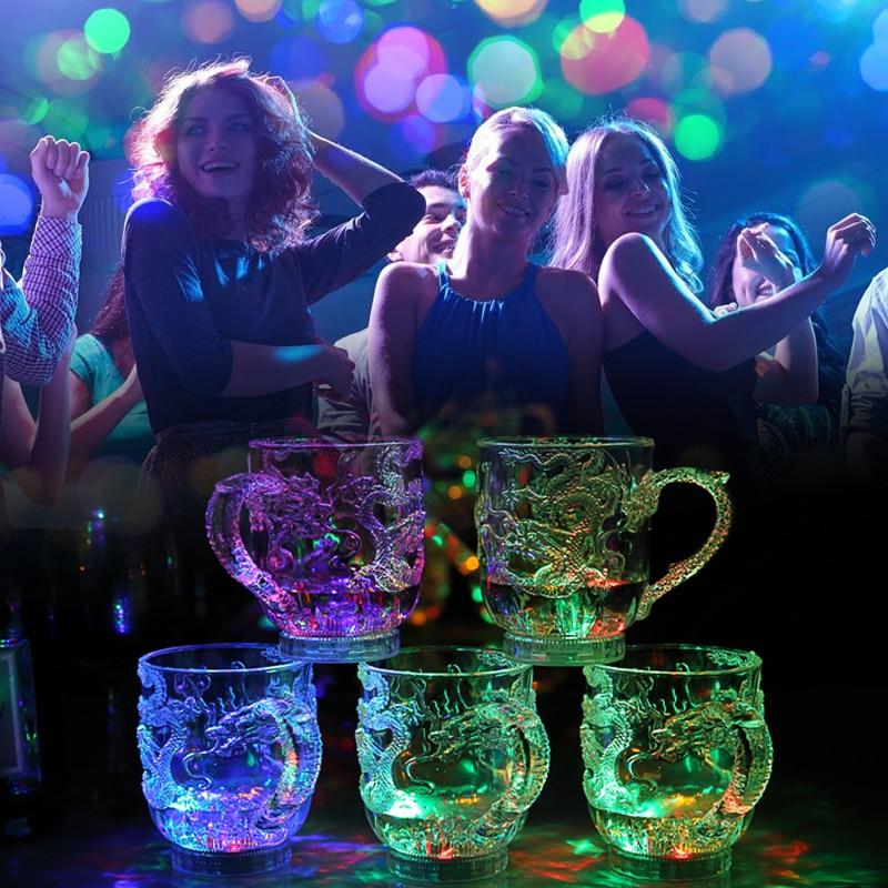 3D украшен китайским драконом светодиодный кружки воды чувствительный светодиодный вспышка светильник Виски Бар чашки старомодный коктейль Пивная кружка чашка для вина