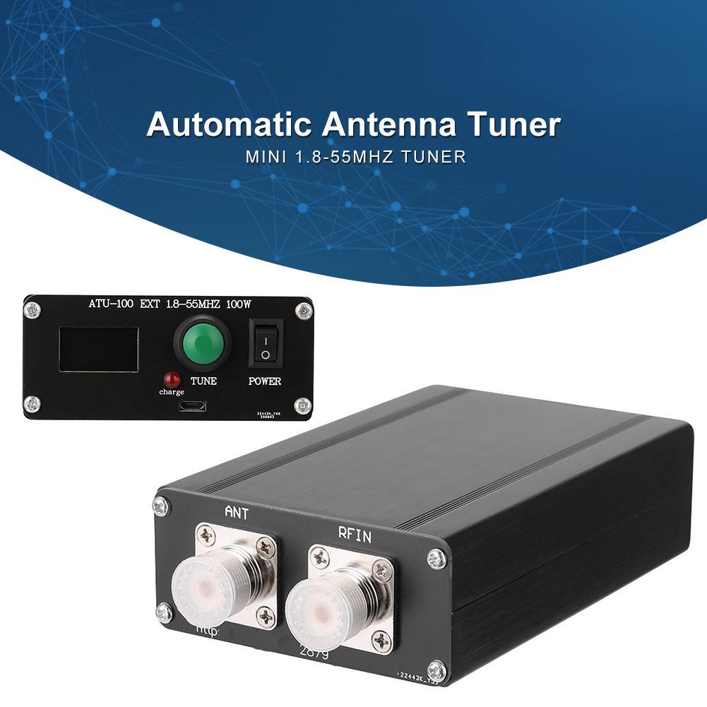 ATU-100 EXT 1.8-55MHz 100 واط التلقائي هوائي موالف السيارات موالف 100 واط السيارات موالف صغير 0.91 OLED + حافظة معدنية + بطارية 1350MA