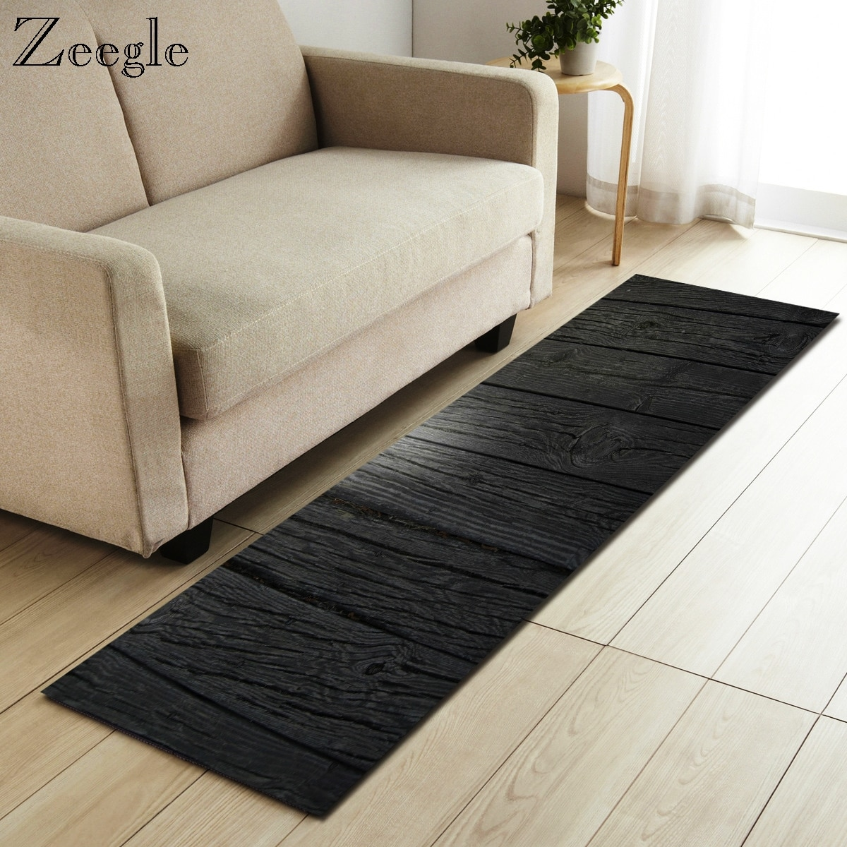 Zeegle Wood Pattern Carpet Rectangle Carpet For Living Room Area Rug Anti-slip Bedroom Mats Kitchen Carpet Sofa Table Floor Mats