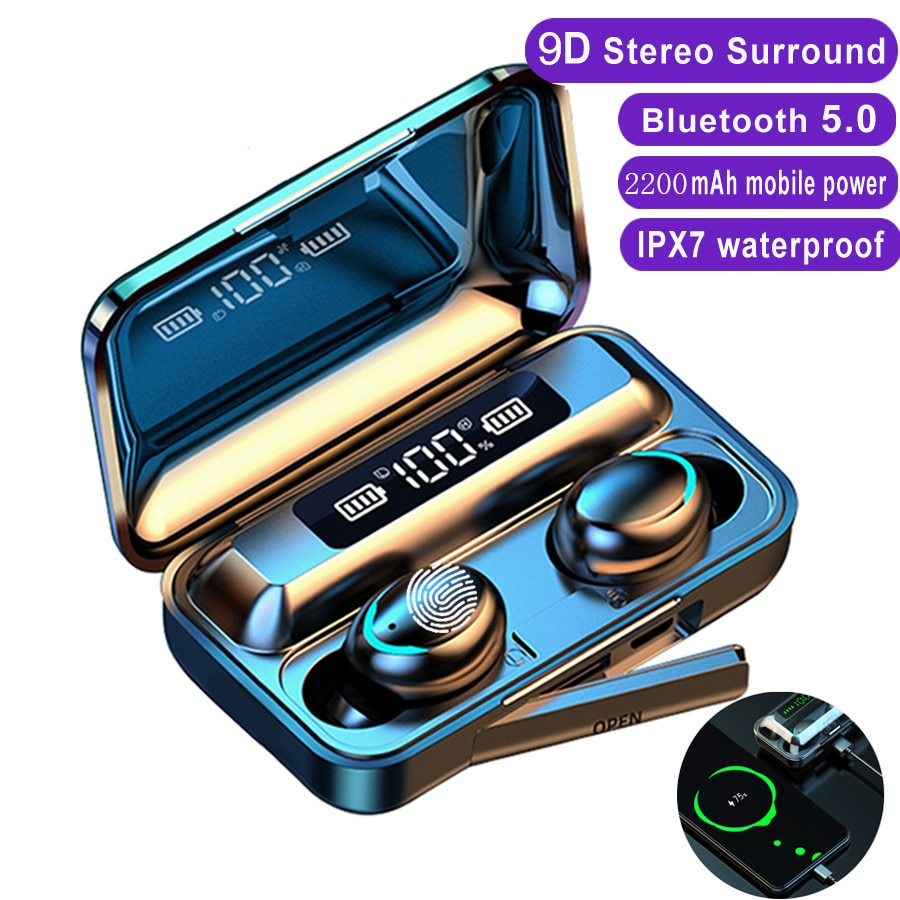 Headphone Bluetooth Earphones Fingerprint Touch Headset HiFI Stereo Earbuds Wireless for sport with Charging Box enlarge